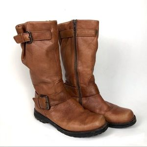 Gentle Souls Buckled Up Camel Leather Moto Boots